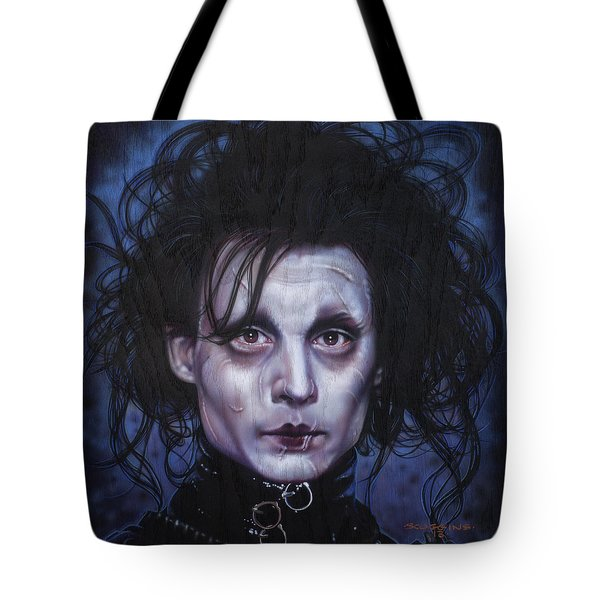 Edward Scissorhands Tote Bag by Timothy Scoggins