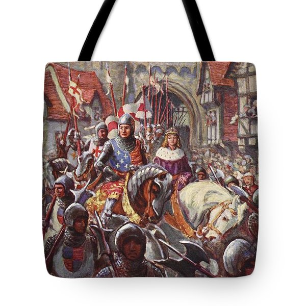 Edward V Rides Into London With Duke Tote Bag by Charles John de Lacy