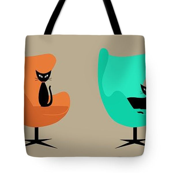 Tote Bag featuring the digital art Egg Chairs by Donna Mibus