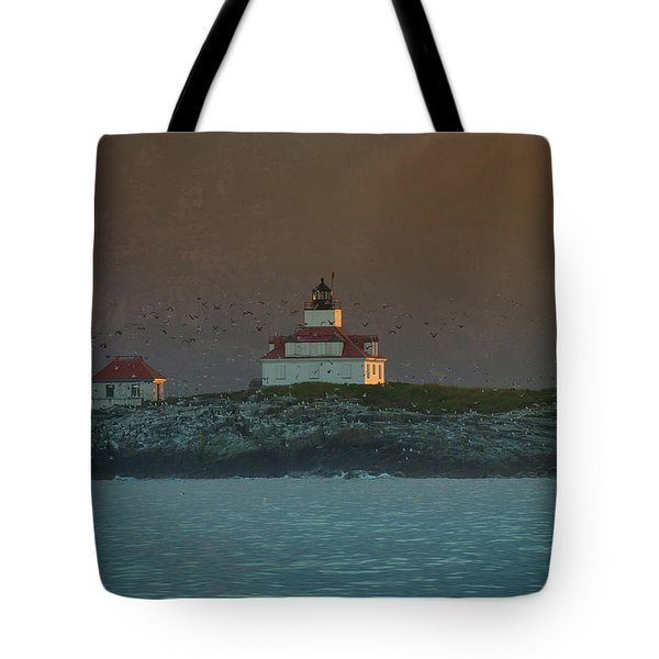 Egg Rock Island Lighthouse Tote Bag by Sebastian Musial