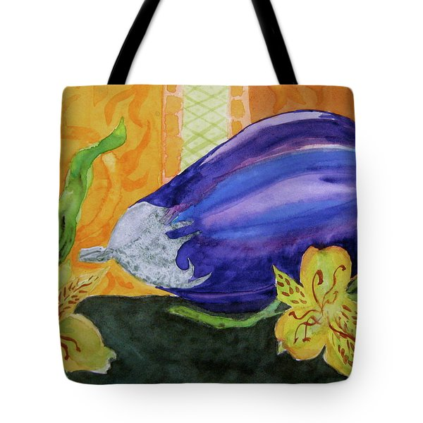 Tote Bag featuring the painting Eggplant And Alstroemeria by Beverley Harper Tinsley