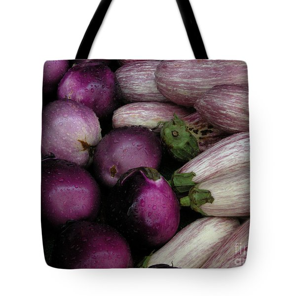 Tote Bag featuring the photograph Eggplants by Mariarosa Rockefeller