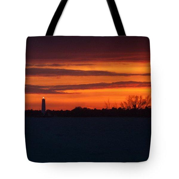 Egmont Key Lighthouse Sunset Tote Bag