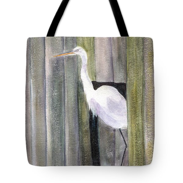 Egret At John's Pass Tote Bag by Mickey Krause