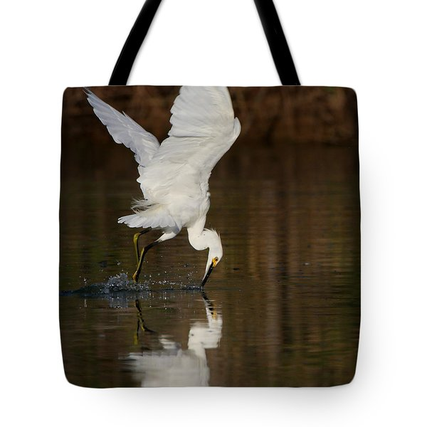 Egret Diving For Lunch Tote Bag