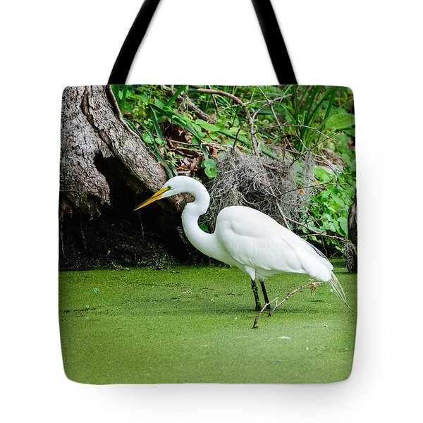 Egret Fishing Tote Bag