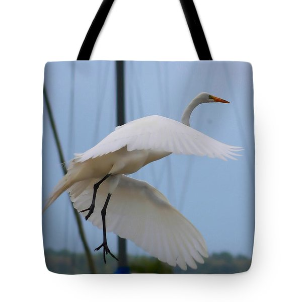 Egret In Flight Tote Bag by Debra Forand