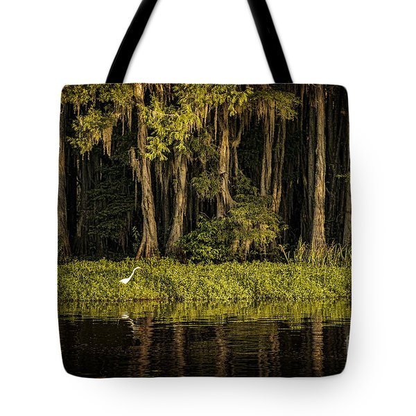 Egret On Caddo Lake Tote Bag by Tamyra Ayles