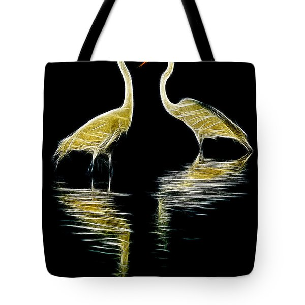 Tote Bag featuring the photograph Egret Pair by Jerry Fornarotto