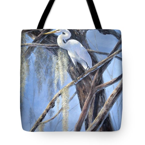 Egret Perch Tote Bag by Mary McCullah