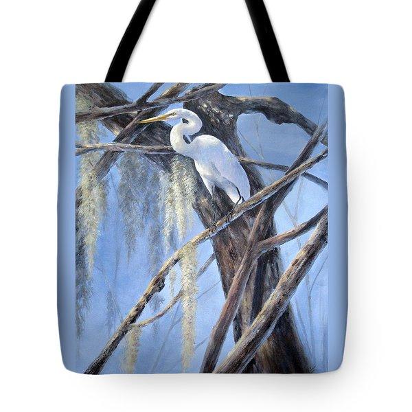 Egret Perch Tote Bag