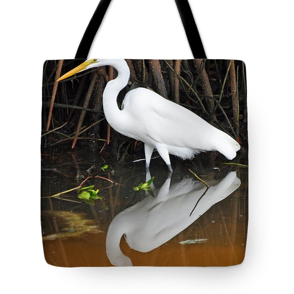 Egret Reflected In Orange Waters Tote Bag