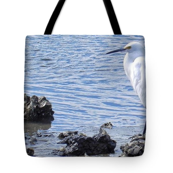 Egret Standing Perfectly Still Tote Bag