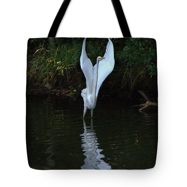 Tote Bag featuring the photograph Egret Take Off by Charlotte Schafer