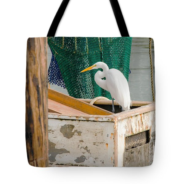 Egret With Fishing Net Tote Bag