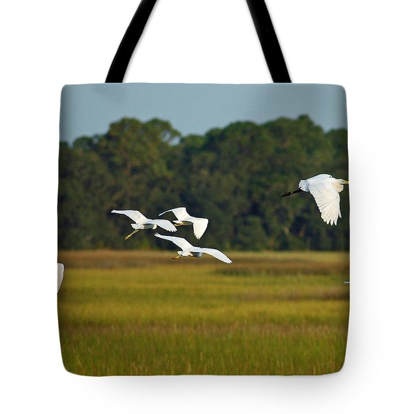 Egrets In Flight On Jekyll Island Tote Bag