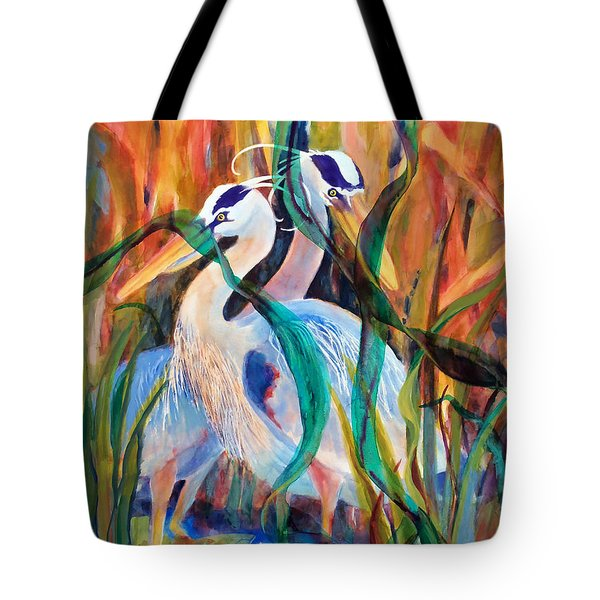 Egrets In Red 2            Tote Bag by Kathy Braud