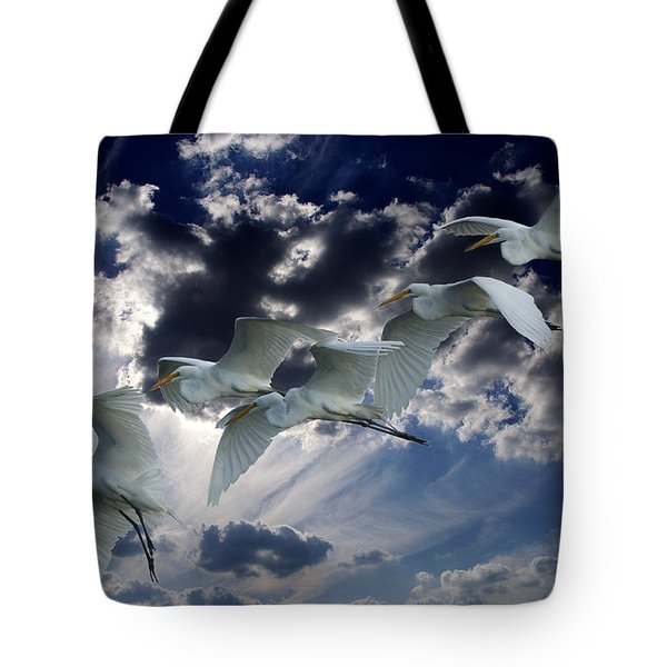 Egrets In Succession Tote Bag