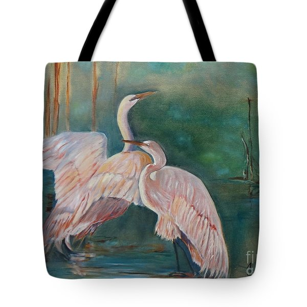 Egrets In The Mist Tote Bag by Jenny Lee