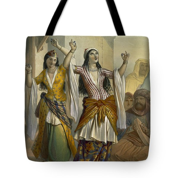 Egyptian Dancing Girls Performing Tote Bag by Emile Prisse d'Avennes