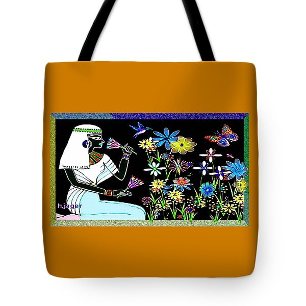 Tote Bag featuring the digital art Egyptian Flower  Garden by Hartmut Jager