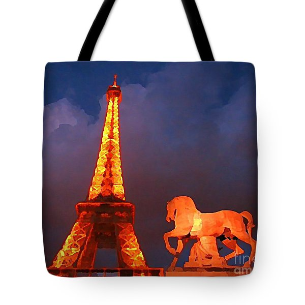 Eiffel Tower And Horse Tote Bag by John Malone