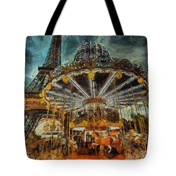 Eiffel Tower Carousel Tote Bag