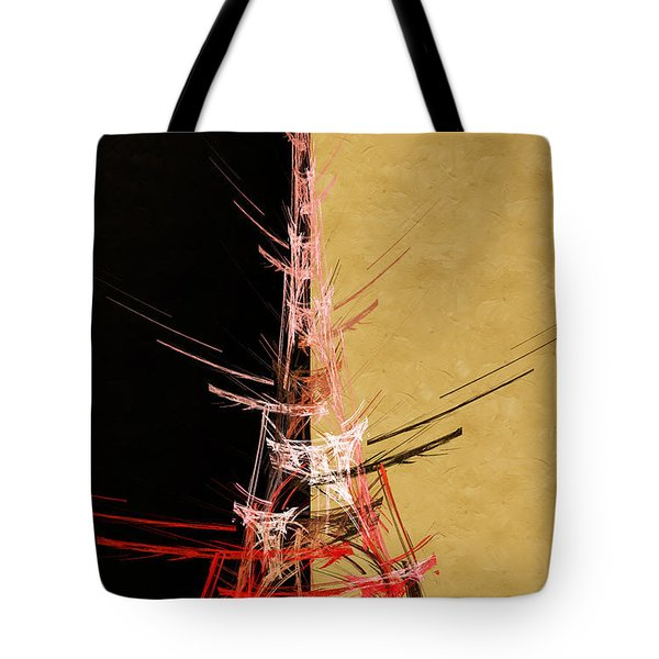 Eiffel Tower In Red On Gold  Abstract  Tote Bag by Andee Design