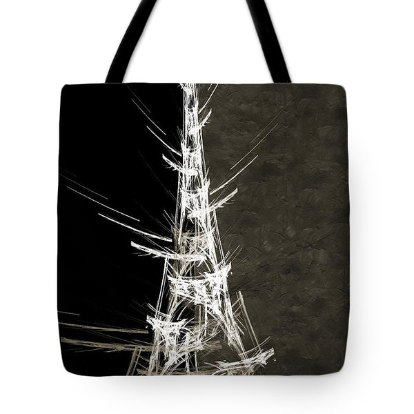 Eiffel Tower In White Bw 2 Abstract Tote Bag by Andee Design