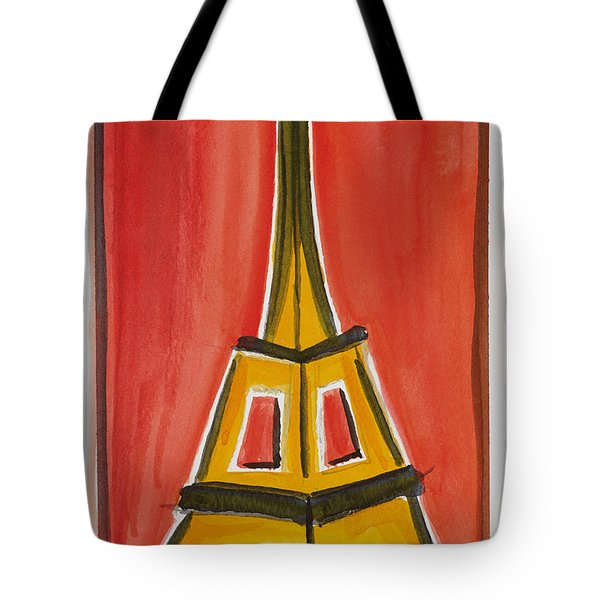 Eiffel Tower Orange And Yellow Tote Bag