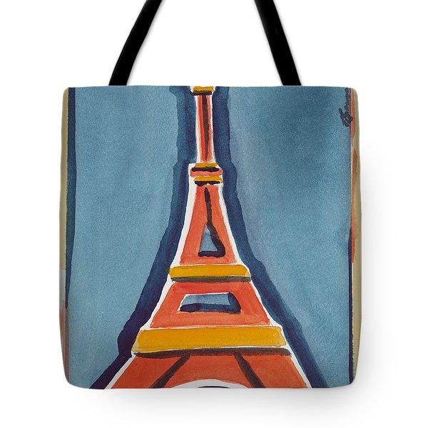 Eiffel Tower Orange Blue Tote Bag
