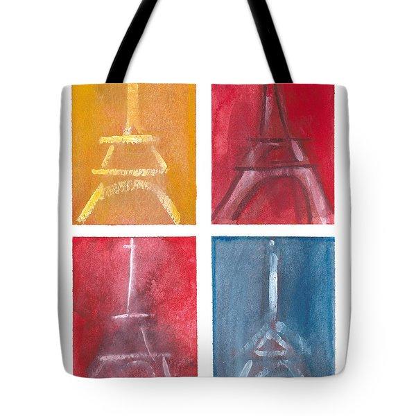 Eiffel Tower Paintings Of 4 Up Tote Bag