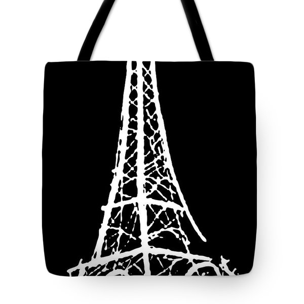 Eiffel Tower Paris France White On Black Tote Bag