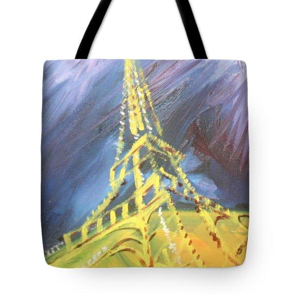Eiffel Tower Paris Night Tote Bag by PainterArtist FIN