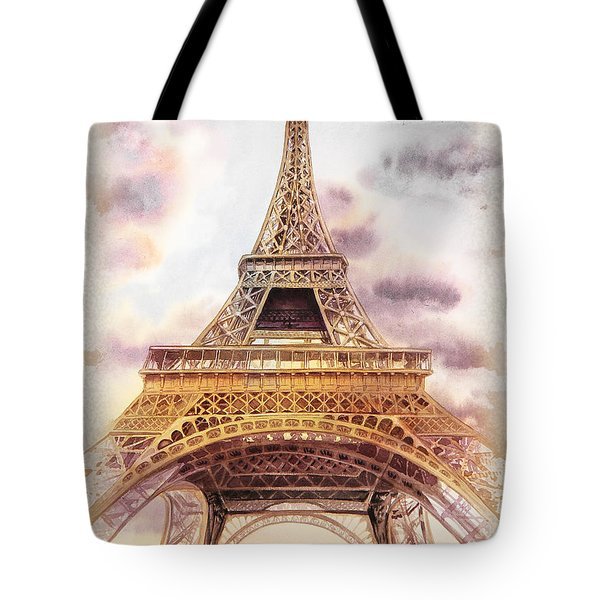 Tote Bag featuring the painting Eiffel Tower Vintage Art by Irina Sztukowski