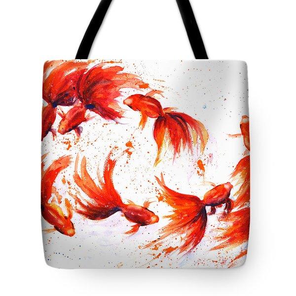 Eight Dancing Goldfish  Tote Bag by Zaira Dzhaubaeva