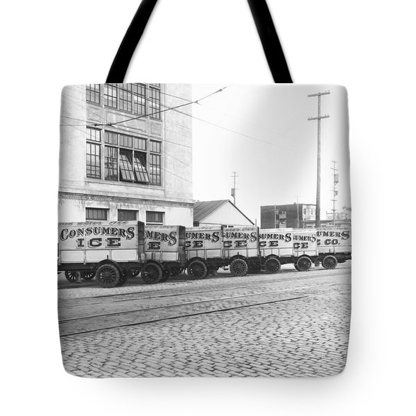 Eight Parked Ice Trucks Tote Bag
