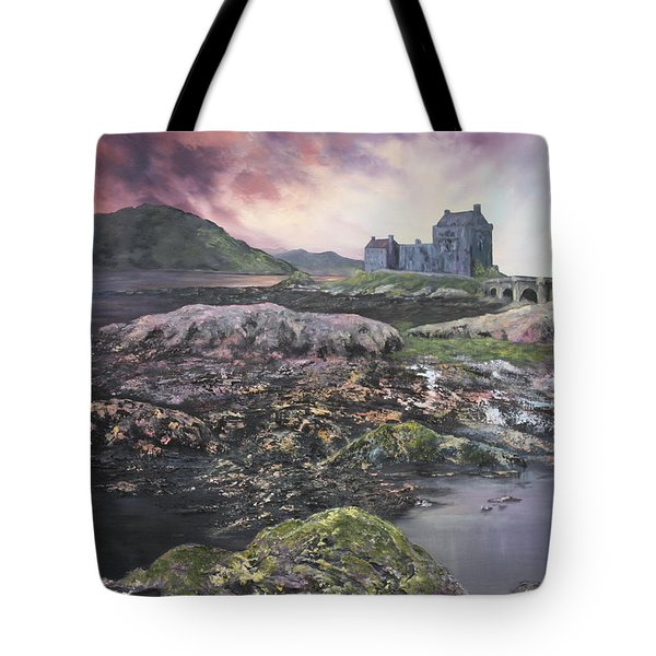 Tote Bag featuring the painting Eilean Donan Castle Scotland by Jean Walker