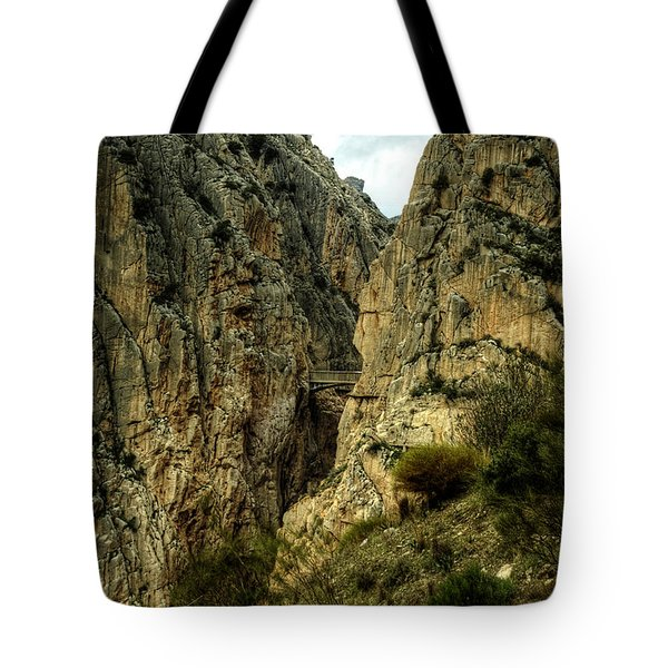 Tote Bag featuring the photograph El Chorro View Of The Railway Bridge by Julis Simo