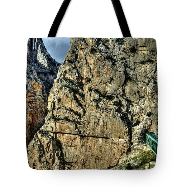 Tote Bag featuring the photograph El Chorro View With Railway Construction by Julis Simo
