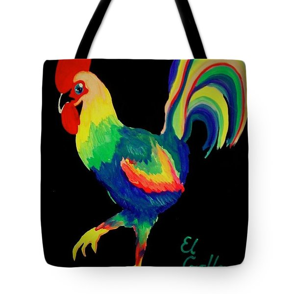 Tote Bag featuring the painting El Gallo by Marisela Mungia