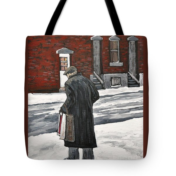 Elderly Gentleman  In Pointe St. Charles Tote Bag by Reb Frost