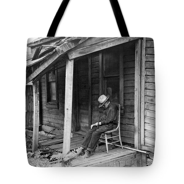 Elderly Man Doses On His Porch Tote Bag by Underwood Archives