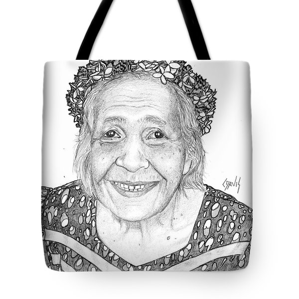 Tote Bag featuring the drawing Elderly Marshallese Woman by Lew Davis