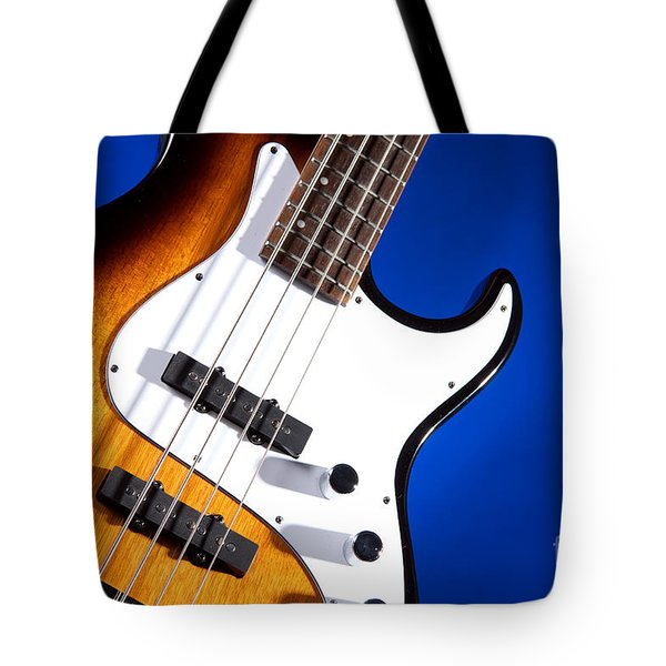 Electric Bass Guitar Photograph On Blue 3322.02 Tote Bag