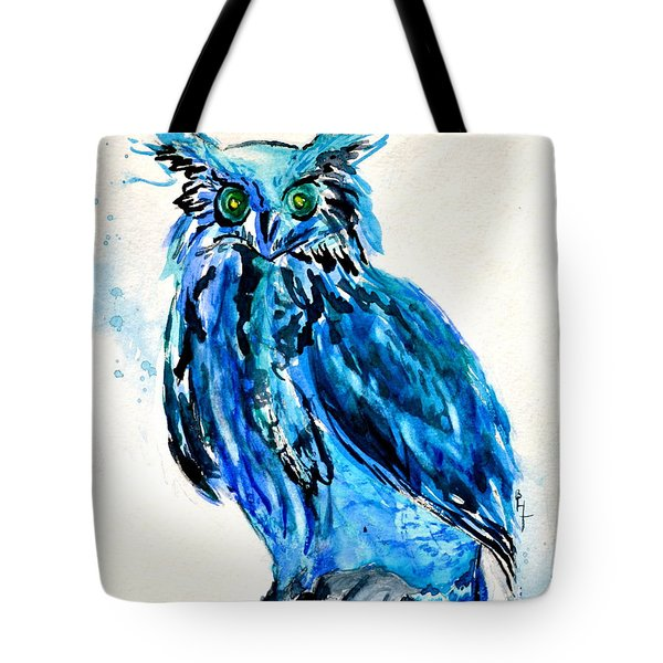 Electric Blue Owl Tote Bag by Beverley Harper Tinsley