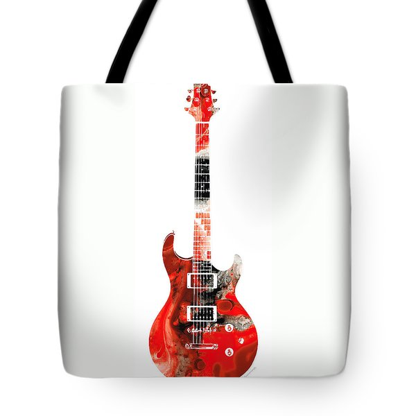 Electric Guitar - Buy Colorful Abstract Musical Instrument Tote Bag by Sharon Cummings