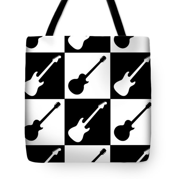 Electric Guitar Checkerboard Tote Bag
