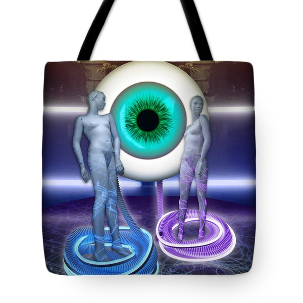 Tote Bag featuring the digital art Electric Lady Eye by Rosa Cobos