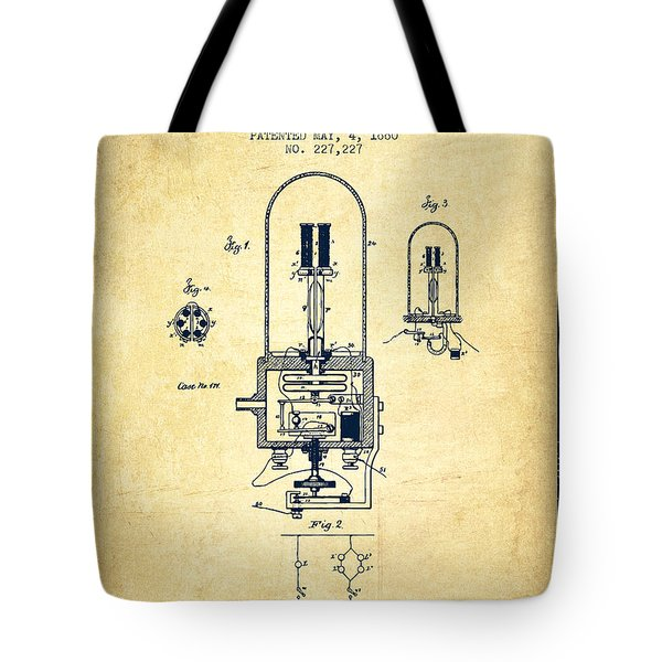 Electric Light Patent From 1880 - Vintage Tote Bag